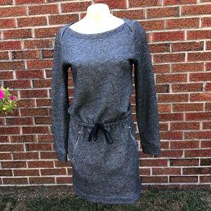 Lou & Grey Gray Long Sleeve Drawstring Waist Dress